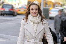 Sweet creams: Leighton Meester on the Gossip Girl set in New York