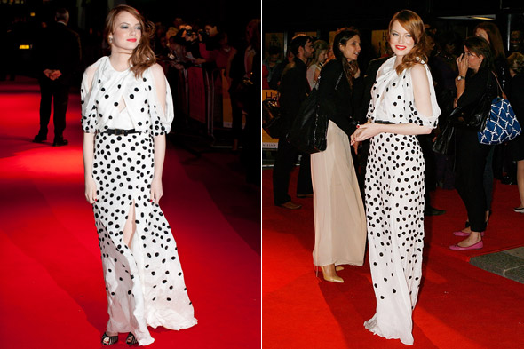 Hot or not: Emma Stone's monochrome polka dots at The Help premiere