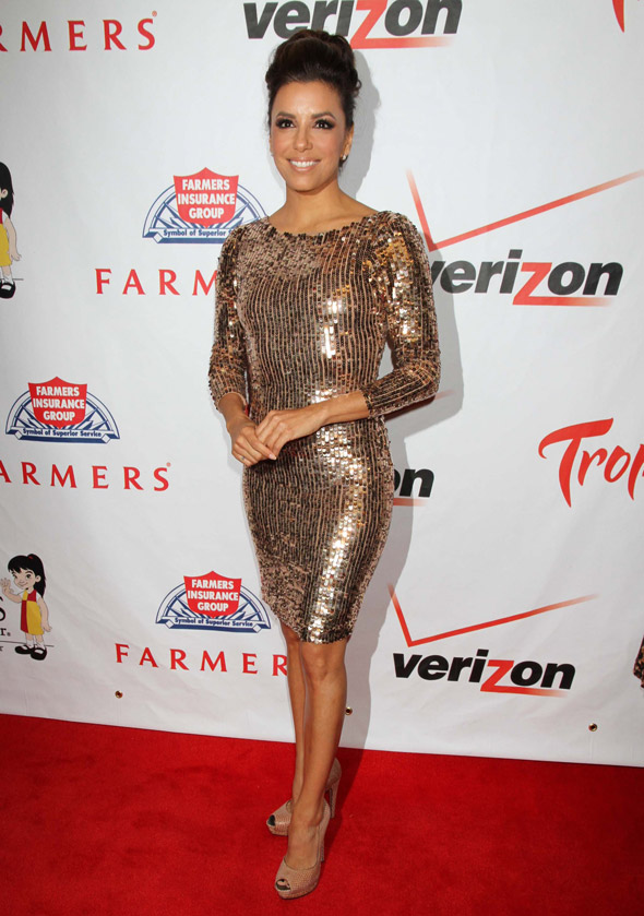 Eva Longoria's super shiny style at cancer benefit event