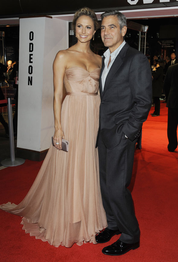 George Clooney (again) at a premiere (again) with Stacy Keibler (again)