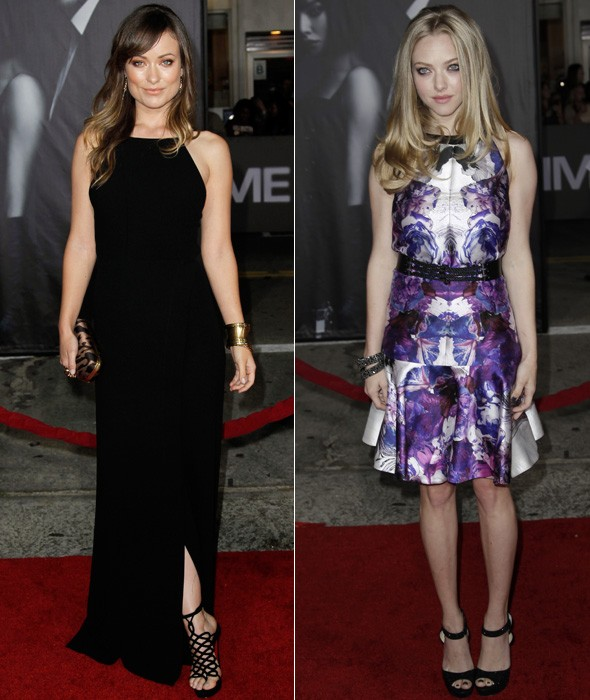Olivia Wilde and Amanda Seyfried at the In Time LA premiere