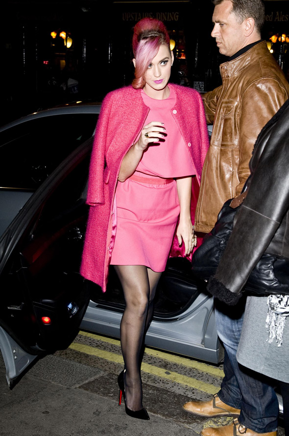 Pink Lady: Katy Perry  teams candyfloss hair with hot pink outfit