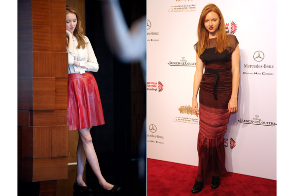 Lily Cole wears red for Abu Dhabi Film Festival, looks blue