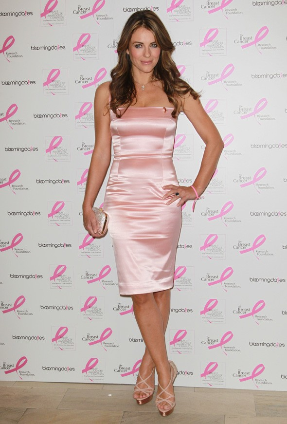 Pretty in pale pink: Liz Hurley attends Breast Cancer Research event