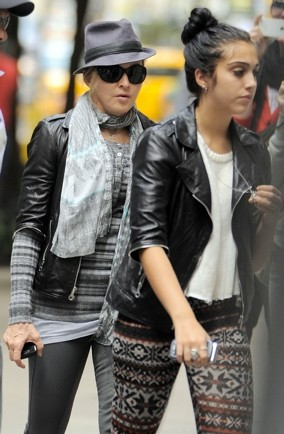 lourdes-madonna-wear-same-leather-jacket-for-kabbalah-new-york