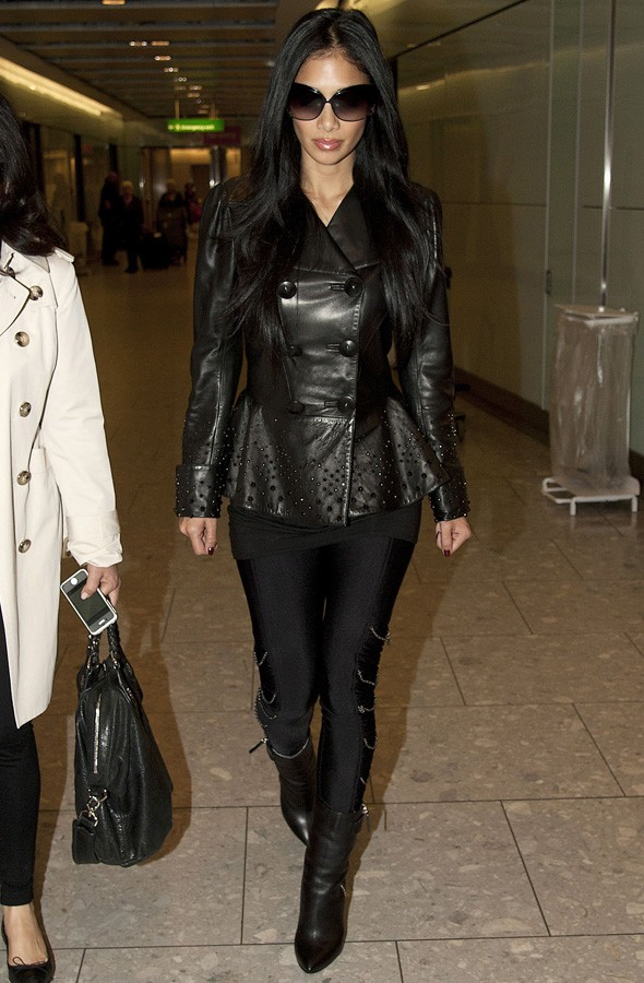 Nicole Scherzinger arriving at Heathrow