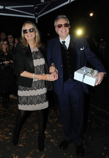Twiggy and her husband arrive at the north London home of Sir Paul McCartney, following his marriage to Nancy Shevell