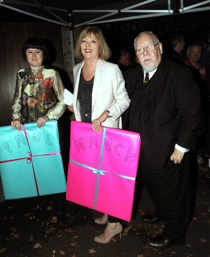 Sir Peter Blake, Lady Chrissie Blake (centre) and daughter Rose Blake arrive at the north London home of Sir Paul McCartney, fol