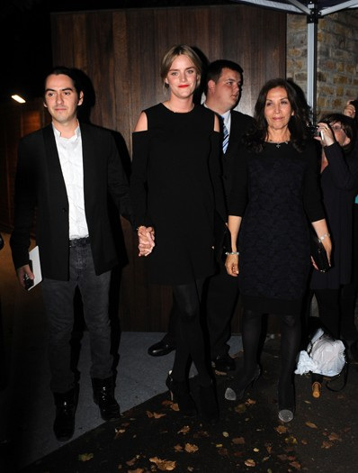 Dhani Harrison, Olivia Harrison (right) and guest arrive at the north London home of Sir Paul McCartney, following his marriage