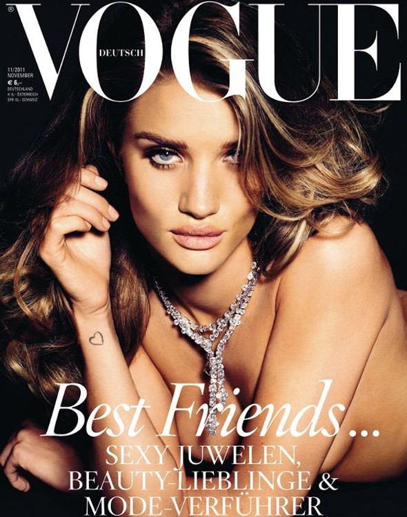 Rosie Huntington-Whiteley bares all for Vogue Germany cover