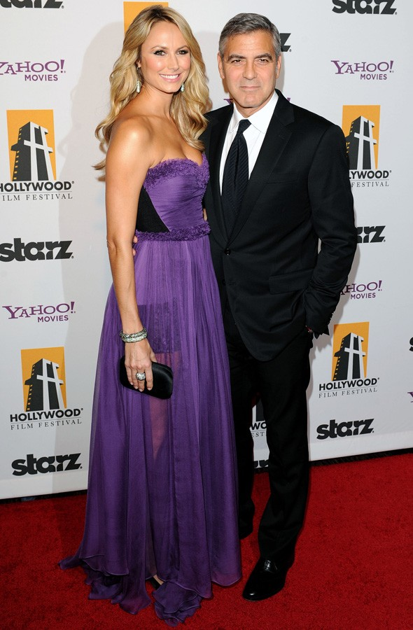 George Clooney and Stacy Keibler at the Hollywood Film Awards