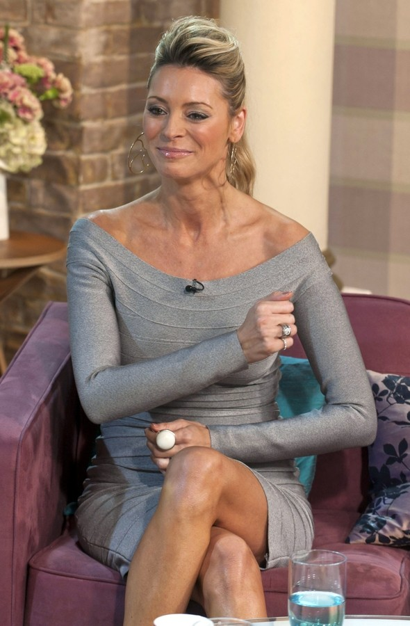 Tess Daly is Strictly stunning in off-the-shoulder bandage dress on daytime TV
