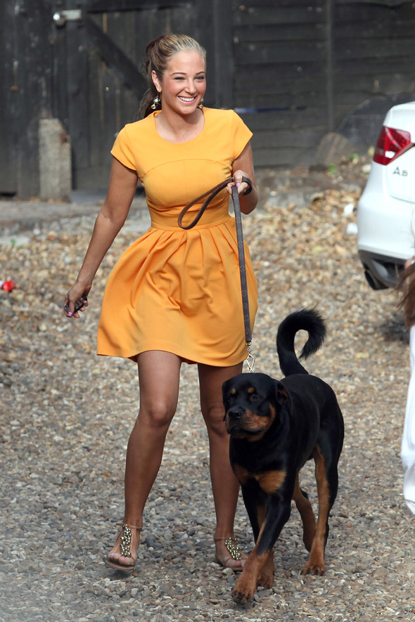 Ray of sunshine: Tulisa's bright and breezy in a yellow frock