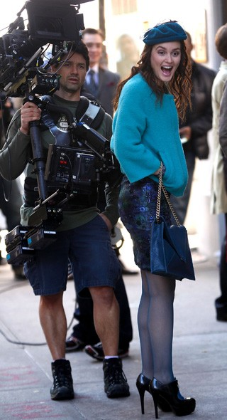 Leighton has a laugh: All in a days work on the GG set!