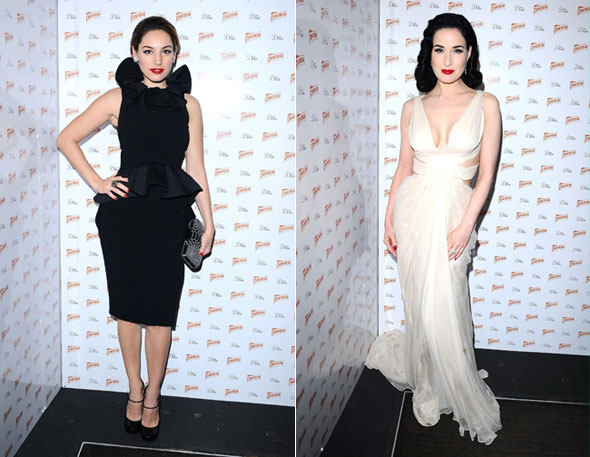 Kelly Brook and Dita Von Teese swap styles at Cointreau Prive party