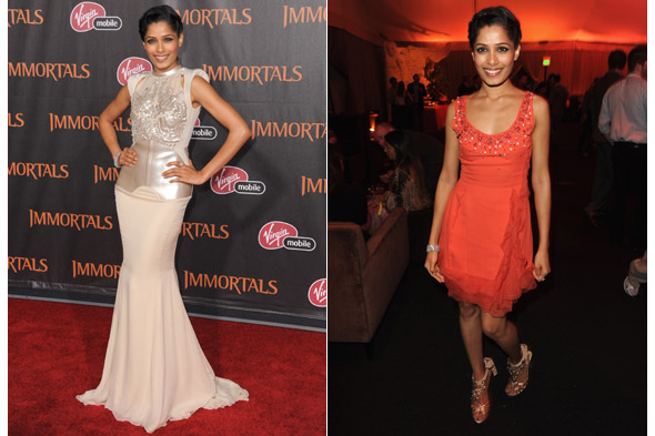 Double dressing: Freida Pinto goes from glitzy glam to party pretty