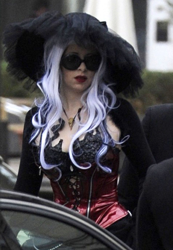 Is Gaga still dressed for Halloween?