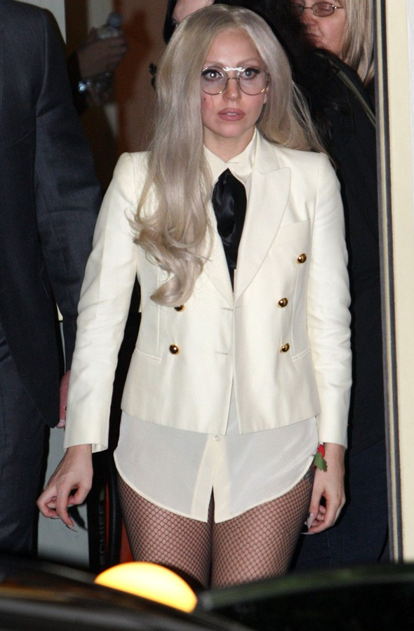 Lady Gaga leaves X Factor studios in geek chic specs - but forgets her trousers