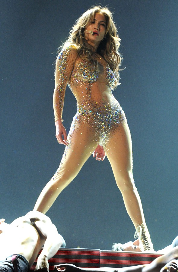 Jennifer Lopez on stage at the American Music Awards