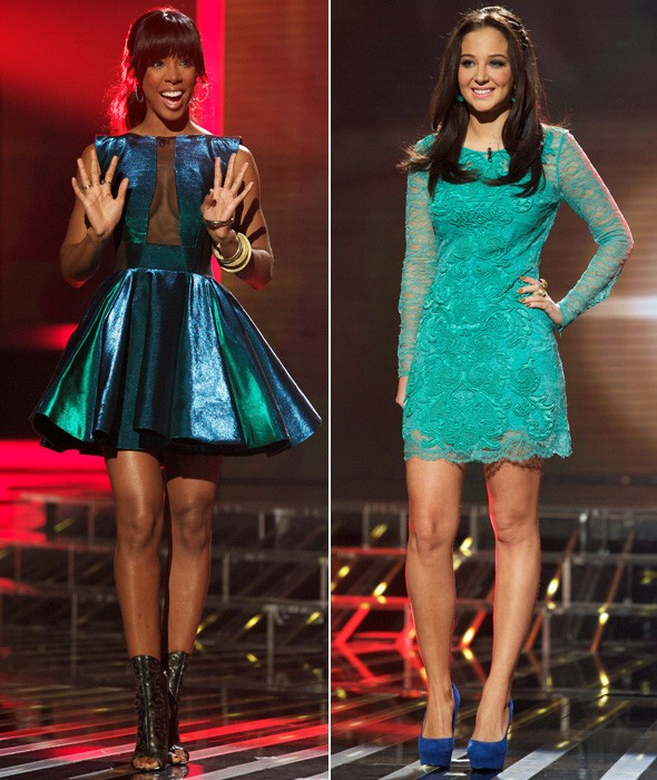 Kelly Rowland and Tulisa during the X Factor week seven live shows