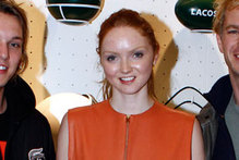 Hot or not: Lily Cole wears orange zip-up leather sack
