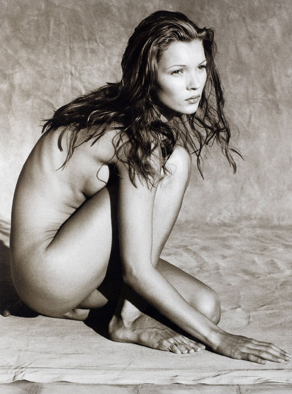 Kate Moss keeps warm in winter-wear but this nude pic was worth £16,250