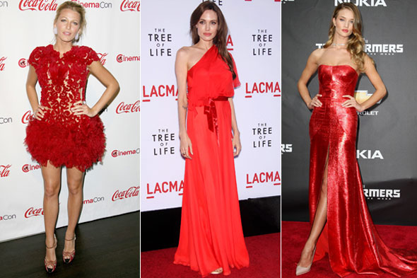 Blake Lively, Angelina Jolie, Rosie Huntington-Whiteley. Photos: Rex Feaures