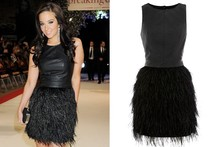 Shop Tulisa's Twilight premiere leather & feather dress (it's high street!)