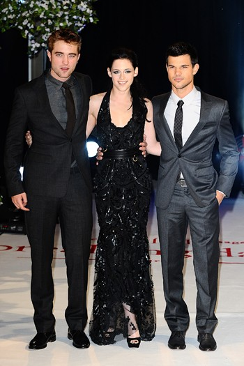 Robert Pattinson, Kristen Stewart and Taylor Lautner at the London premiere