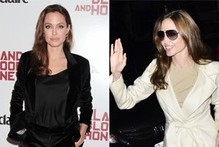 Angelina Jolie keeps it classic in black velvet trouser suit