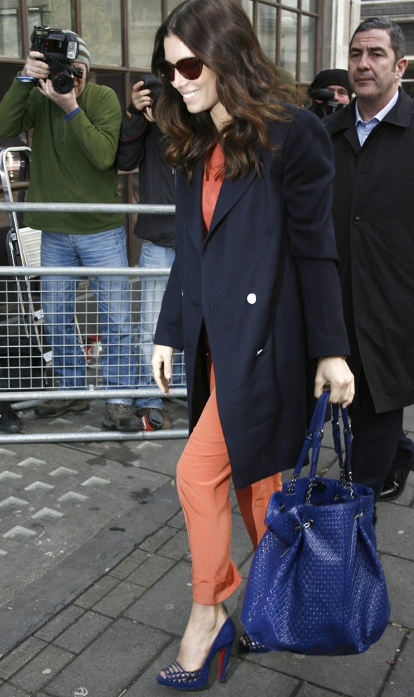 Hot or not: Jessica Biel colour blocks in tangerine and royal blue