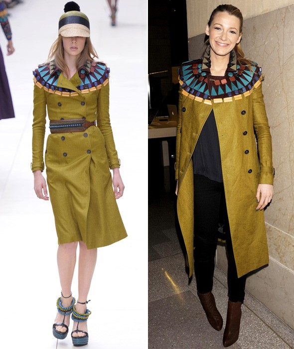 Blake Lively in a Burberry coat at the Apple Grand Central Station store opening