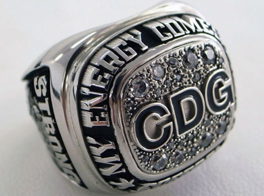 A crystal-encrusted champion ring