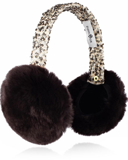 A furry, sequinned pair of ear muffs