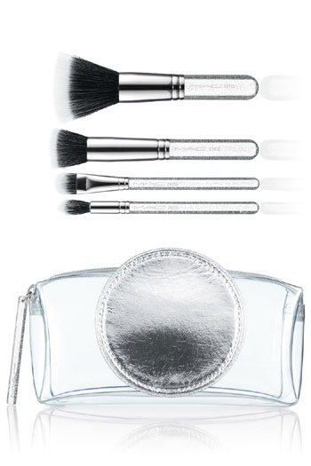 A sparkle-dusted makeup brush set