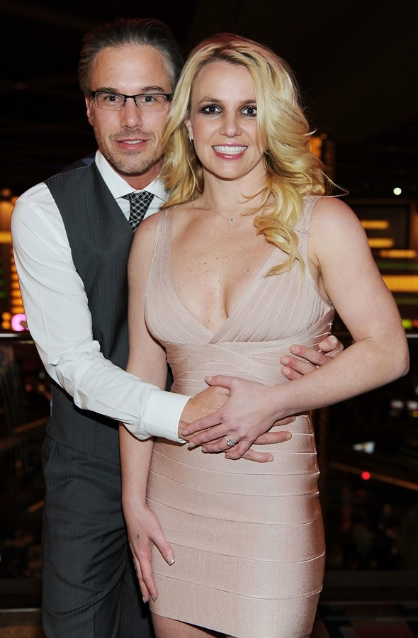 Britney celebrates engagement in Herve Leger bandage dress