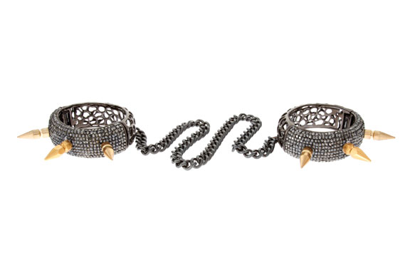 A pair of embellished handcuffs