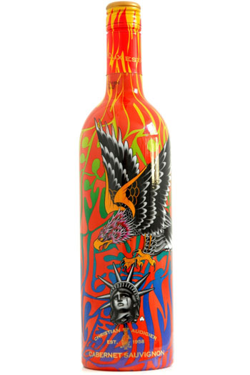 A tattoo-festooned wine bottle