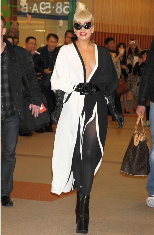 Lady Gaga at Narita International airport in Japan in black and white kimono dress