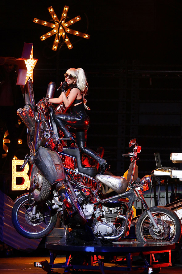 Lady Gaga brings mutant motorbikes and hospital beds onstage
