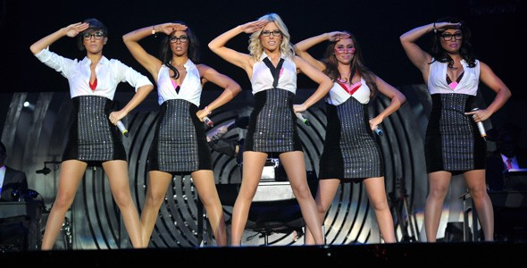 The Saturdays performing at Wembley Arena during their tour