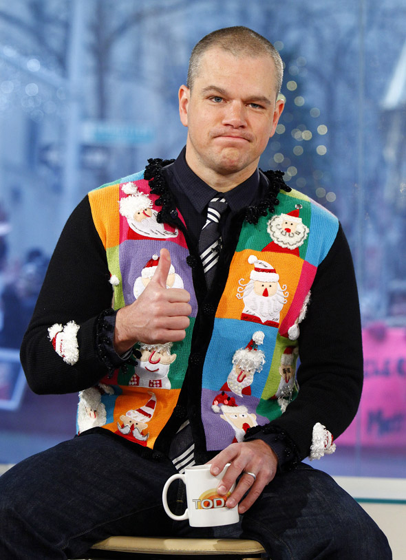 Matt Damon: Adorable in the Christmas sweater that taste forgot