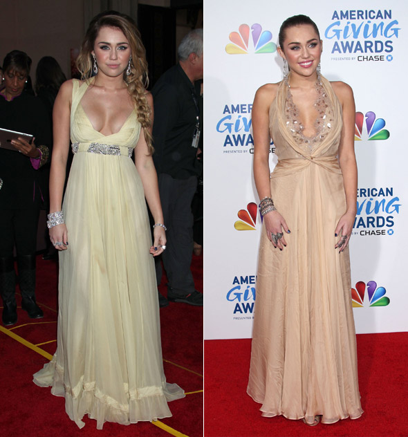 Miley Cyrus (plus cleavage) at CNN Heroes tribute - too similar to AGAs look?