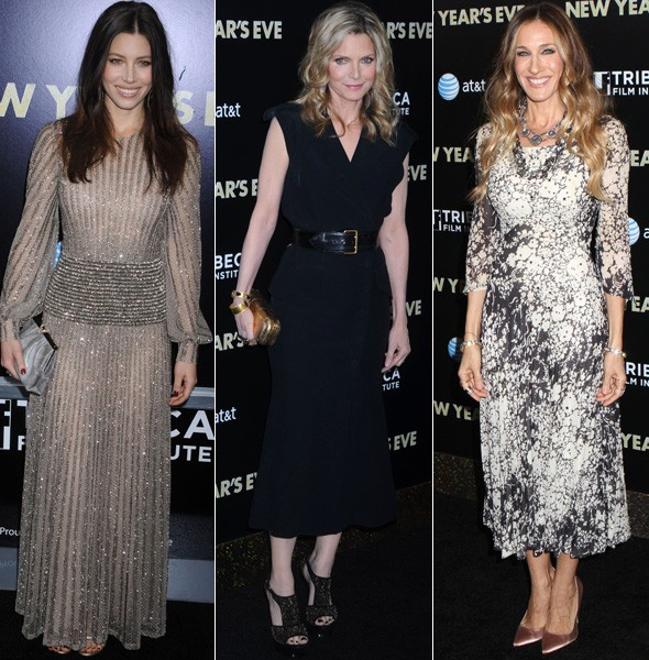 Jessica Biel, Michelle Pfeiffer and Sarah Jessica Parker at the New Year's Eve New York premiere