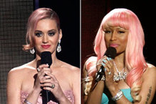 Battle of the bubblegum barnets: Katy Perry and Nicky Minaj with pink hair