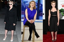 Scarlett Johansson does three outfits in one day