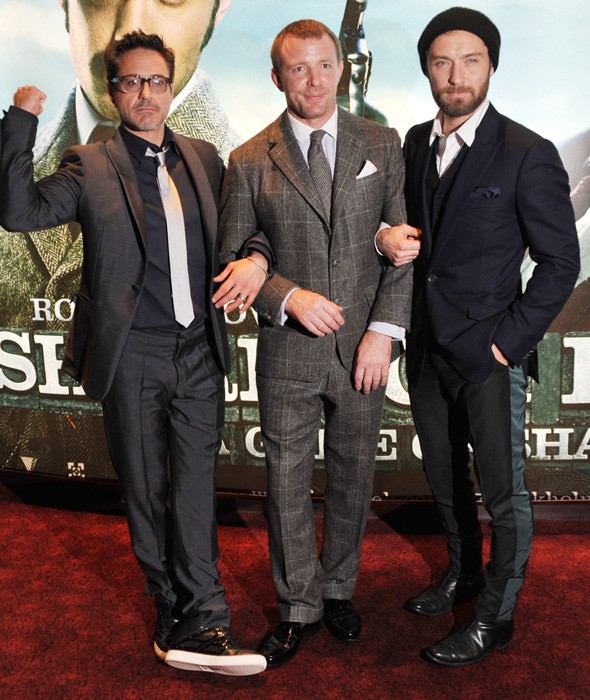 Robert Downey Jr, Guy Ritchie and Jude Law at the Sherlock Holmes premiere in London