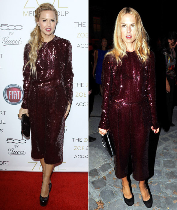 The return of Rachel Zoe's maroon cropped sequin jumpsuit