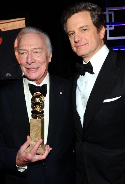 Christopher Plummer and Colin Firth at the NBC Universal party