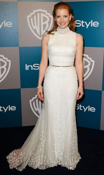 Jessica Chastain at the InStyle/Warner Bros party
